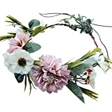 Handmade Boho Flower-Headband Flower-Crown Hair Wreath Halo Garland Headpiece with Ribbon Festival Wedding Party