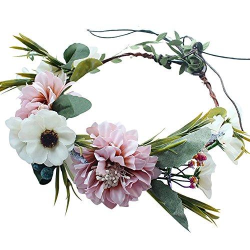 Handmade Boho Flower-Headband Flower-Crown Hair Wreath Halo Garland Headpiece with Ribbon Festival Wedding Party by YnimioAOX