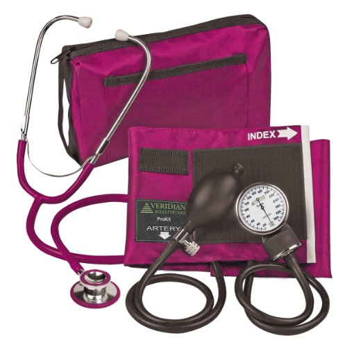 Veridian 02-12708 Aneroid Sphygmomanometer with Dual-head Stethoscope Kit, Adult, - Pressure Monitor Blood Stethoscope
