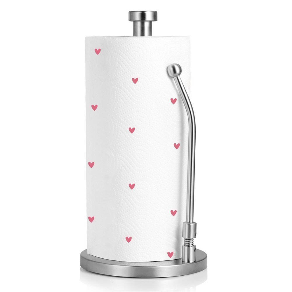 ZWR Kitchen Paper Towel Holder Stainless Steel Standing Tabletop Tissue Holder Simply Tear Roll Contemporary for Countertop Desk