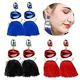Dangle Tassel Earrings for Women Bohemian Crystal Drop Earring Set Statement Jewelry