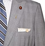 Tan and White Floral with Wooden Button Men's Pocket Square by The Detailed Male