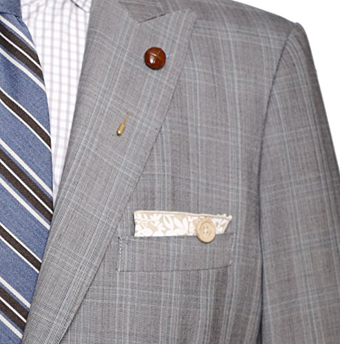 Tan and White Floral with Wooden Button Men's Pocket Square by The Detailed Male by The Detailed Male (Image #4)