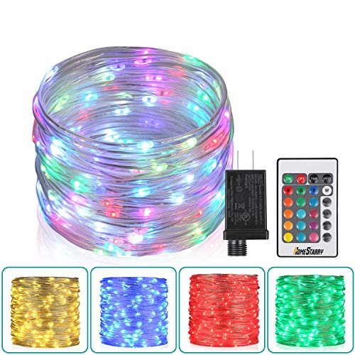 33Ft Outdoor Led Rope Lights, Christmas Fairy Lights Plug in 100 LEDs Color Changing String Lights with Remote Waterproof Led String Lights for Outdoor, Wedding, Party, Garden, Home Decor, 16 Colors