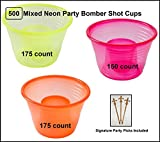 500 count Fineline Mixed Neon Blaster Bomb Shot Cups w/ Signature Party Picks