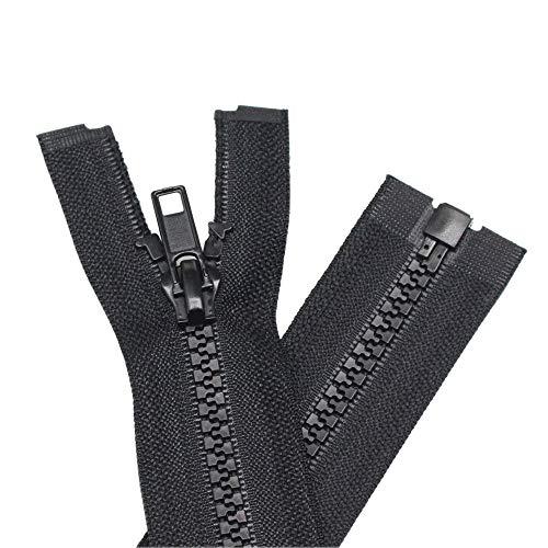 YaHoGa 2PCS #5 16 Inch Separating Jacket Zippers for Sewing Coats Jacket Zipper Black Molded Plastic Zippers Bulk (16