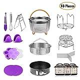 HOMFUL 18-Pieces Pressure Cooker Accessories Set Compatible with Instant Pot 5,6,8 Qt - 2 Steamer Baskets with Divider, Non-stick Springform Pan, Stackable Egg Steamer Rack, Egg Bites Mold
