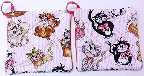 Handmade Reversible Quilted Potholders | Heat Resistant | Kitten Design | Set includes 2 potholders by Oh So Chic Boutique (Image #2)