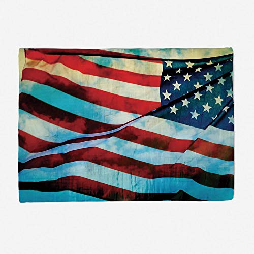 YOLIYANA Throw Blanket Super Soft and Cozy Fleece Blanket Perfect for Couch Sofa or Travelling/78x59 inches/American Flag Decor,American Flag in The Wind on Flagpole Memorial Patriot History Ima ()