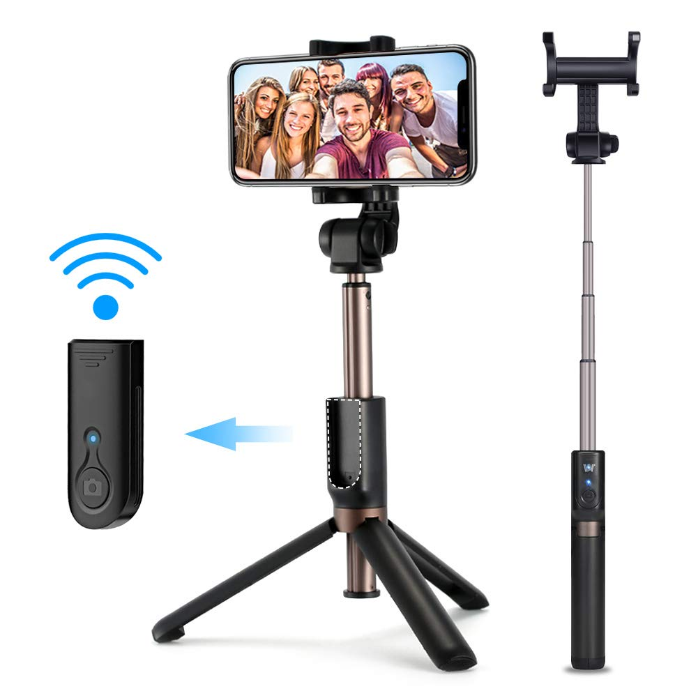 Selfie Stick Tripod, oneisall Mini Foldable Extendable 360° Rotation Bluetooth Selfie Stick with Remote Control and Tripod Stand for iPhone x 8 7 Android Samsung Galaxy S7 S8 (Black)