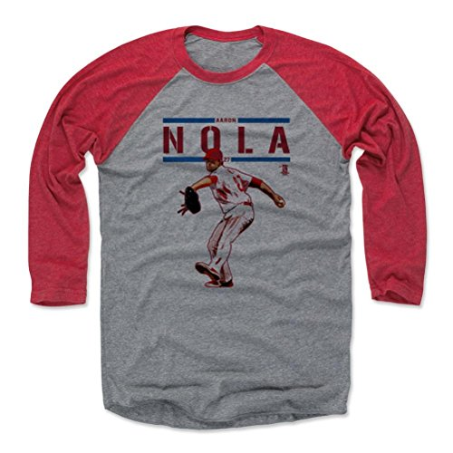 500 LEVEL's Aaron Nola 3/4th Baseball T-Shirt M Red / Heather Gray - Aaron Nola Play R - Philadelphia Baseball Fan Gear Officially Licensed by the MLB Players Association