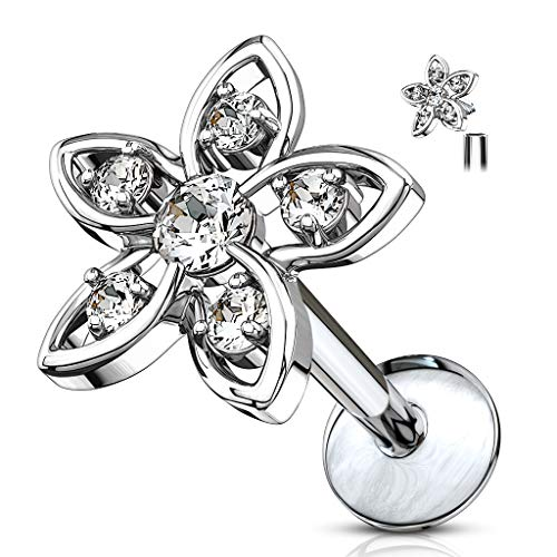 MoBody 16G CZ Jeweled Flower Top Labret Piercing Surgical Steel Internally Threaded Monroe Lip Ring Helix Earring (Silver-Tone/Clear CZ, 6)