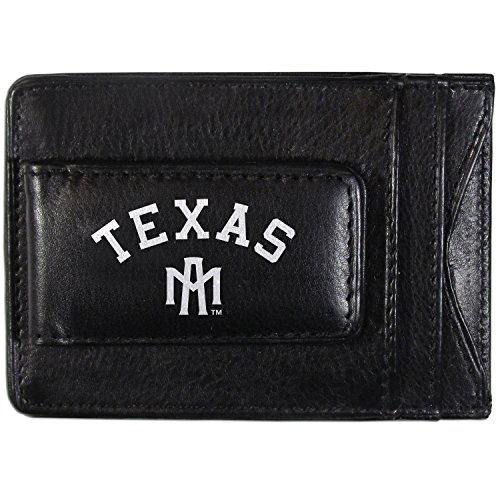 Siskiyou NCAA Texas A&M Aggies Logo Leather Cash Cardholder, Black
