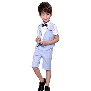 741165f7a LOLANTA 4 Pieces Boys Summer Wedding Leisure Suit Vest Shirt Short with  Bowtie (Blue,