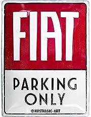Nostalgic-Art Retro plåtskylt FIAT – Parking Only – presentidé för biltillbehör fläktar, av metall, vintagedesign för dekoration, 30 x 40 cm
