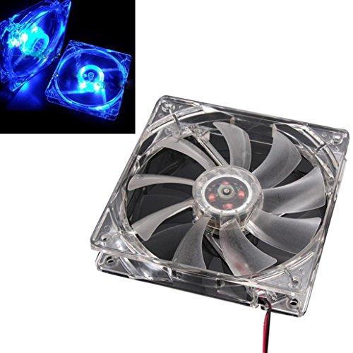 120mm 4Pin 4-LED Light PC Computer Case Neon Cooling Fan,Tuscom (Blue)