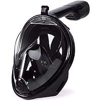 XL قناع وجه كامل -أسود - للغوص - برؤية 180 درجة - مصنوع من سيليكون مقاس