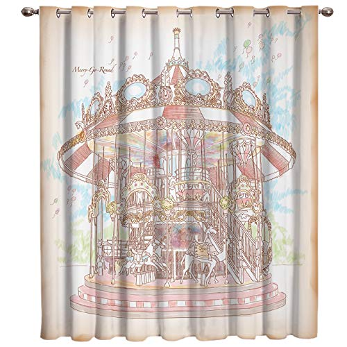 (HomeCreator Blackout Window Curtains Hand-Painted Carousel Window Treatment Darkening Thermal Insulated Curtains for Living Room Bedroom Window Drapes 52