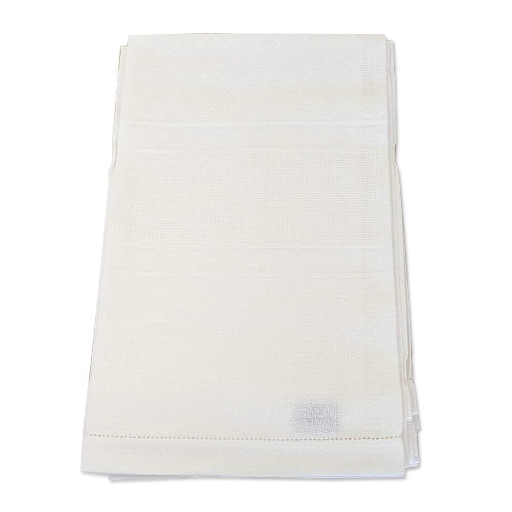 THEAILATI Asciugamano /& Ospite Misto Lino Set da 6 Sagrin/è Colore Bianco con Orlo A Giorno Tela Aida Vittoria-Asciugamano