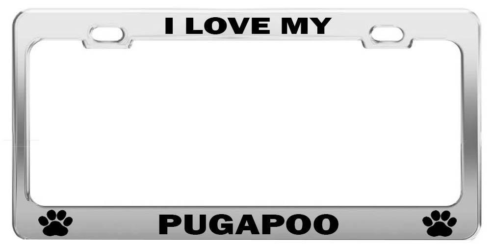 Greicmn I Love My pugapoo Hund Geschenk Metall Nummernschild Rahmen ...