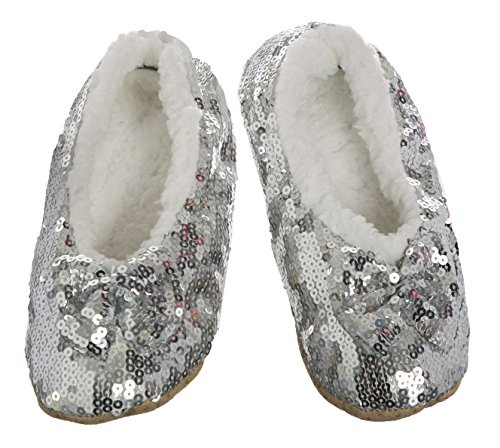 KL By Shop KL Womens and Kids Sequin Ballerina Cozy Slippers (Kid's US (8-12.5), Silver) -