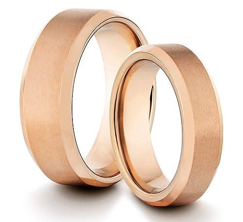 Womens Matte Black Wedding Band Ring TungstenMasters 8MM//6MM Tungsten Mens