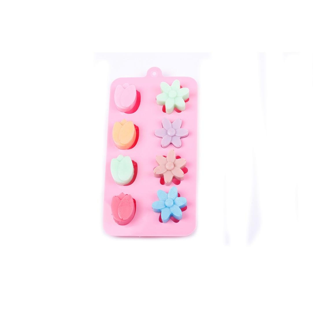 Vibola New 3D Tulip Flower Silicone Ice Cube Chocolate Cake Cookie Soap Mould Mold Chocolate Baking Tools DIY Gift (Pink)
