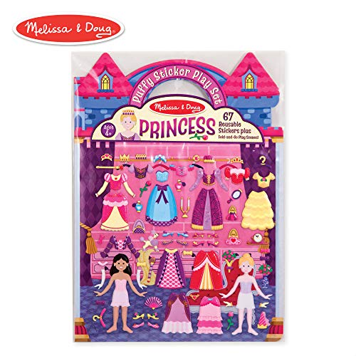 (Melissa & Doug Puffy Sticker Play Set, Princess (Reusable Activity Book, 67 Stickers, Great for Travel))