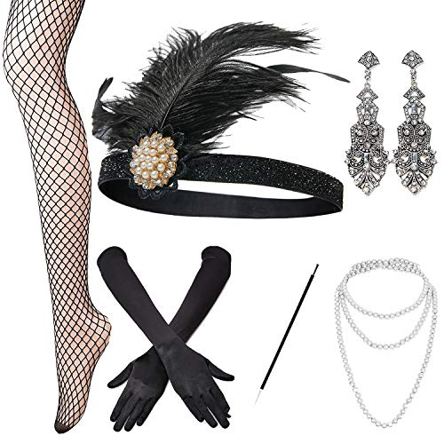 Heaven Costumes Flapper - 1920s Accessories Set Headband,Necklace,Gloves,Cigarette Holder and