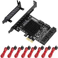 MZHOU PCIe SATA-kaart 8-poort, met 8 SATA-kabels en low-profile beugel, 6 Gbps SATA 3.0 PCIe-kaart, ondersteuning voor 8…