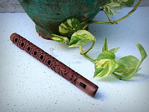"Unique 13"" Exotic Hand Carved Authentic Traditional Wooden Flute Great Sound Indian Musical Instrument Store Indya"