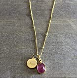 Pink Tourmaline Gemstone Love Charm Pendant 14kt Gold Filled Necklace 18 inches Mother's day gift for her
