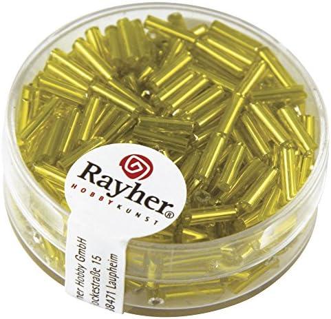 RAYHER 1406520?Glass Stick Beads 7?x 2?mmSilver Insert 15?g Box Yellow