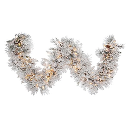 Vickerman Flocked Alberta Artificial Garland with Artificial Pine Cones and 150 Clear Lights, 9' x 18