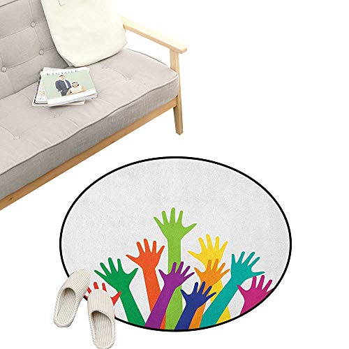 - Colorful Round Rug Living Room ,Lively Colored Silhouette of Hands Childhood Friendship Togetherness Future Themes, Bedrooms Laundry Room Decor 39