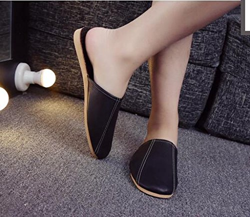 Wooden Dermis Women Autumn Floor Slippers Sheepskin Spring Summer Men Leather M TELLW Noir Comfortable for gnqBB0