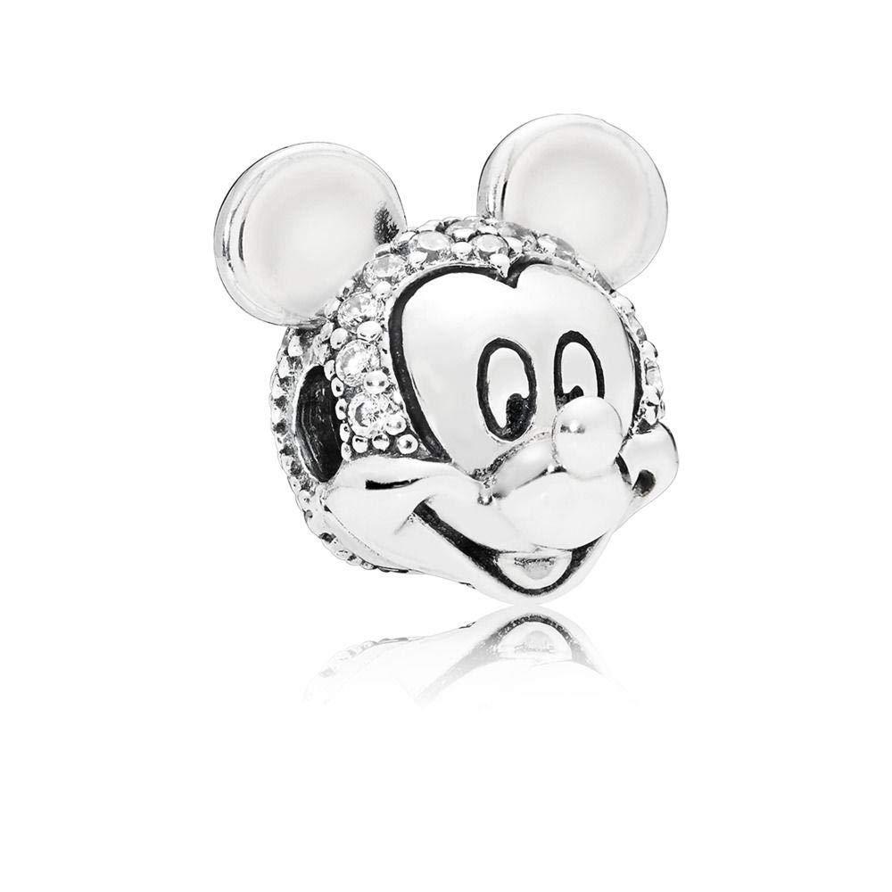 4b9a4479f Amazon.com: PANDORA Disney Shimmering Mickey Portrait 925 Sterling Silver  Charm - 797495CZ: Jewelry