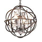 Benita Antique Black Metal Strap Globe Crystal Chandelier