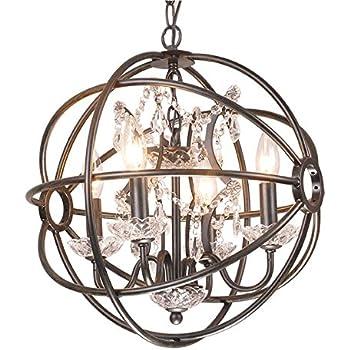 Antique Bronze Globe Sphere Cage Crystal Chandelier 4-Light ...