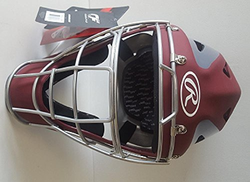 Rawlings CHVELY Velo Youth Cardinal / Gray Catchers Helmet Fits 6 1/2''-7'' by Rawlings