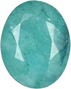 Real Gems 6.00 CTS Certificado de Piedras Preciosas Sueltas de Esmeralda 100% Natural, Piedra de Talla facetada Verde Esmeralda de Corte Ovalado