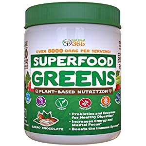 Doctor Formulated: Superfood Greens CoCoa Chocolate Flavor, Made with Organic Ingredients , Vitamins, Minerals, Gluten Free, Vegan, Whole Food Powder – Fruits, Veggies, Probiotics, Digestive Health