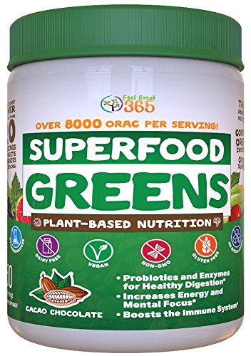 Superfood Vital Greens Powder - Cocoa Chocolate by Feel Great 365, Doctor Formulated, Organic, Whole30 Friendly, and Vegan, 100% Non-GMO with Real Green Vegetables, Polyphenols, and Probiotics ()