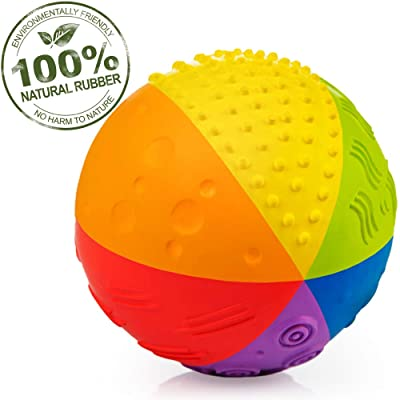 "Pure Natural Rubber Sensory Ball Rainbow 4"" - All Natural Sensory Toy, Promotes Sensory Development, Rainbow Colors, Perfect Bouncer, Gentle Squeaking, BPA Free, PVC Free, Food-grade paint : Toys & Games"