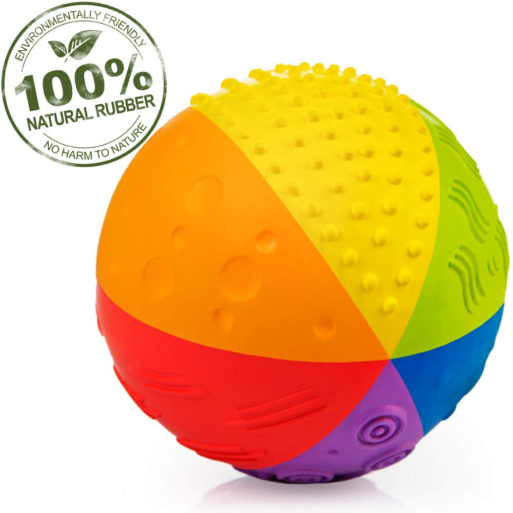 Pure Natural Rubber Sensory Ball Rainbow 4'' - All Natural Sensory Toy, Promotes Sensory Development, Rainbow Colors, Perfect Bouncer, Gentle Squeaking, BPA Free, PVC Free, Food-grade paint by CaaOcho