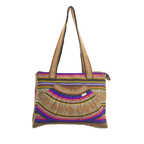 PINZON ABANICO Ladies Everyday Woven Canvas Handbag Fair Trade Casual Beach Tote Bag Hippie Hobo Shoulder Bag for Women Bohemian Vintage Carry All Festival Aztec Mayan Mexican Shoulder Bag Brown Purple