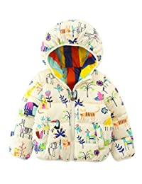 Girl Boy Kids Down Coat Floral Printed Padded Snowsuit Winter Warmer Outwear Clothes White 2-3T