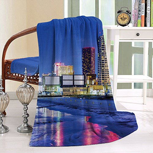 HAIXIA Throw Blanket City Resort Casinos on Shore at Night Atlantic City New Jersey United States Violet Blue Pink Yellow