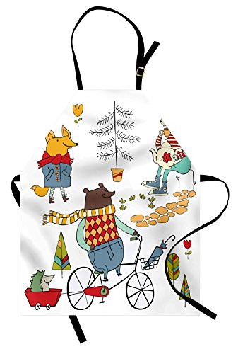 Ambesonne Animal Apron, Bear on Bicycle Fox in Raincoat and Bunny with a Teapot Urban Forest Characters, Unisex Kitchen Bib Apron with Adjustable Neck for Cooking Baking Gardening, Multicolor by Ambesonne