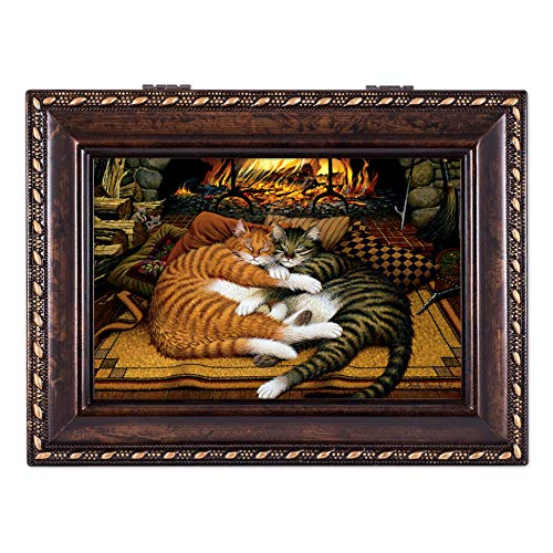 - Cottage Garden Cats Sleeping On a Hearth Fireplace Burlwood Rope Trim Jewelry Music Box Plays Canon in D